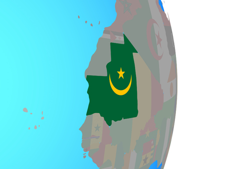 Mauritania with national flag on simple political globe. 3D illustration. Фото со стока