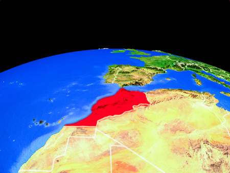 Morocco on model of planet Earth with country borders and very detailed planet surface. 3D illustration.