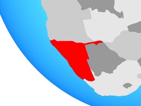 Namibia on simple globe. 3D illustration.