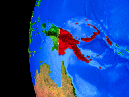 Papua New Guinea from space on realistic model of planet Earth with country borders and detailed planet surface. 3D illustration.
