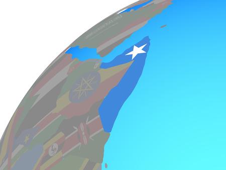 Somalia with embedded national flag on globe. 3D illustration.