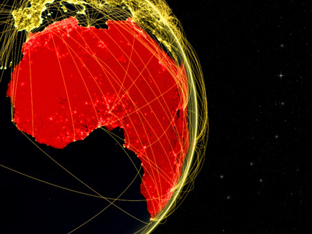 Africa on dark Earth in space with networks. Concept of internet, telecommunications or air traffic between continents. 3D illustration. Stock Photo