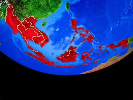 ASEAN member states from space on model of planet Earth with country borders. 3D illustration. Stock Photo