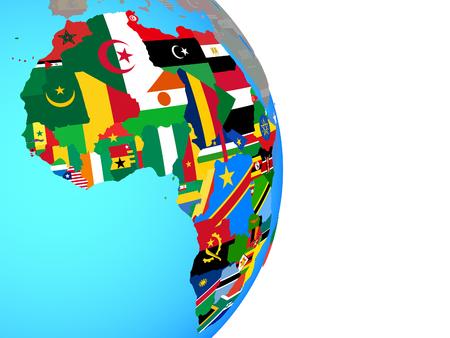 África con banderas nacionales en el mundo político simple. Ilustración 3D. Foto de archivo