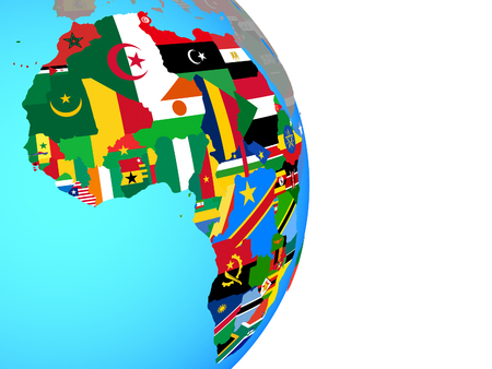 Africa with national flags on simple political globe. 3D illustration.