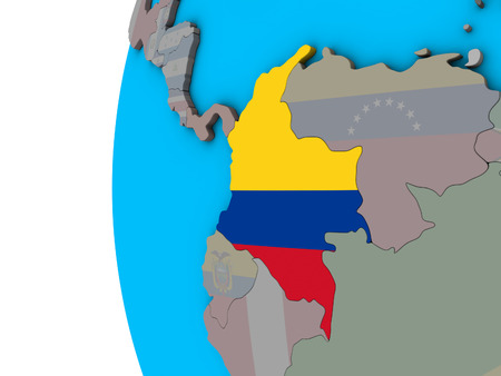 Colombia with national flag on blue political 3D globe. 3D illustration.