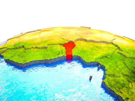 Benin on 3D Earth with visible countries and blue oceans with waves. 3D illustration.