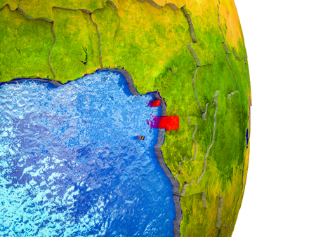 Equatorial Guinea on 3D model of Earth with divided countries and blue oceans. 3D illustration. 版權商用圖片