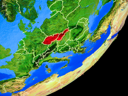 Former Czechoslovakia on planet Earth with country borders and highly detailed planet surface. 3D illustration.