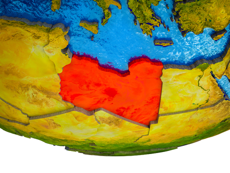 Libya on 3D Earth with divided countries and watery oceans. 3D illustration.