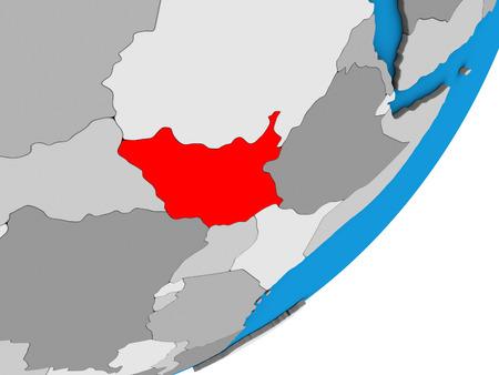 South Sudan on blue political 3D globe. 3D illustration. 스톡 콘텐츠