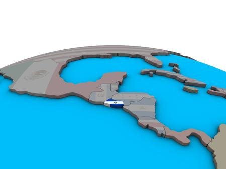 El Salvador with embedded national flag on political 3D globe. 3D illustration.