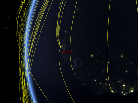 Gambia from space on model of Earth at night with international network. Concept of digital communication or travel. 3D illustration.