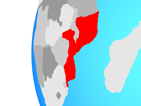Mozambique on blue political globe. 3D illustration. Standard-Bild - 112783037