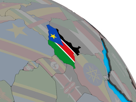 South Sudan with embedded national flag on simple blue political 3D globe. 3D illustration. 스톡 콘텐츠