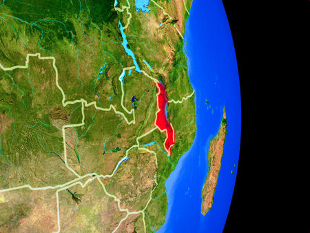Malawi on realistic model of planet Earth with country borders and very detailed planet surface. 3D illustration. Stock Photo