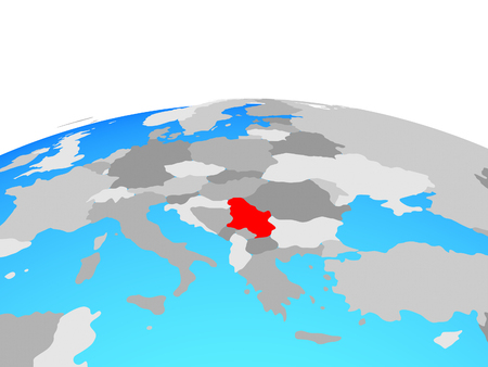 Serbia on political globe. 3D illustration.
