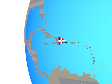 Dominican Republic with embedded national flag on blue political globe. 3D illustration. 스톡 콘텐츠