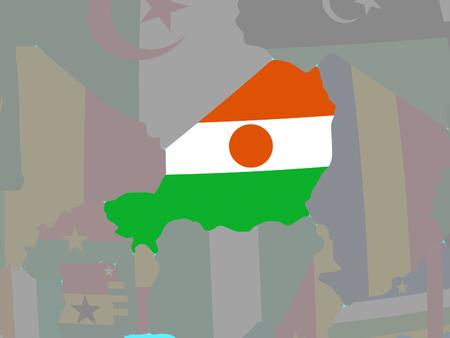 Niger with national flag on blue political globe. 3D illustration.