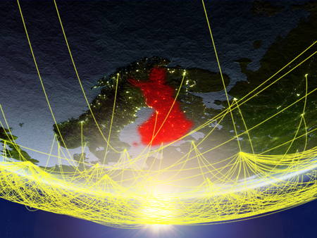 Finland on model of planet Earth in sunrise with network representing travel and communication. 3D illustration.