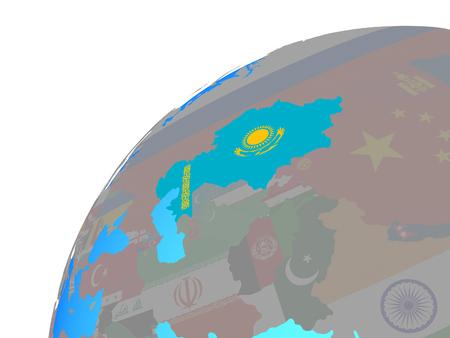 Kazakhstan with embedded national flag on globe. 3D illustration.