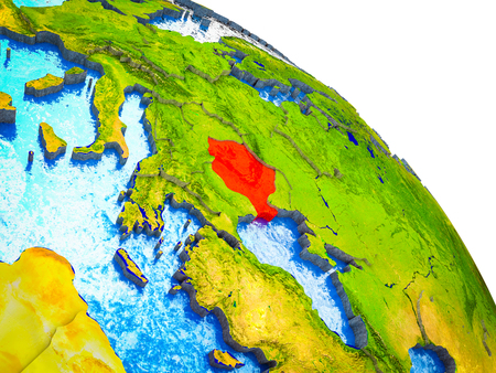 Romania Highlighted on 3D Earth model with water and visible country borders. 3D illustration. Stock Photo
