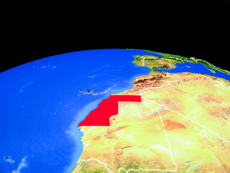 Western Sahara on model of planet Earth with country borders and very detailed planet surface. 3D illustration.