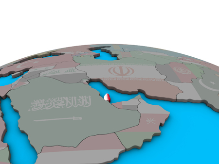 Qatar with embedded national flag on political 3D globe. 3D illustration.