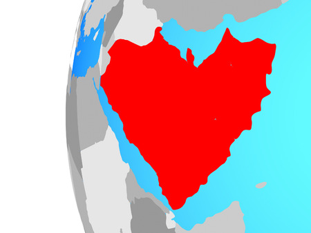 Arabia on blue political globe. 3D illustration. Stock Photo