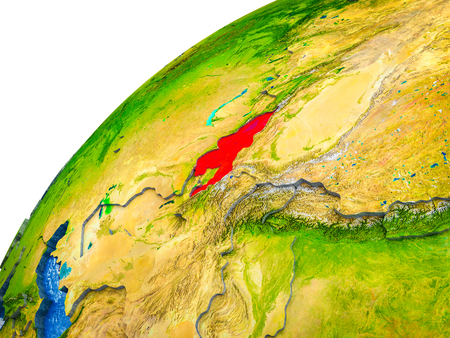 Kyrgyzstan on 3D Earth model with visible country borders. 3D illustration.
