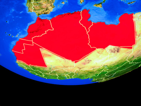 Maghreb region from space on model of planet Earth with country borders. 3D illustration.