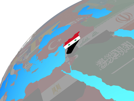 Syria with embedded national flag on globe. 3D illustration.
