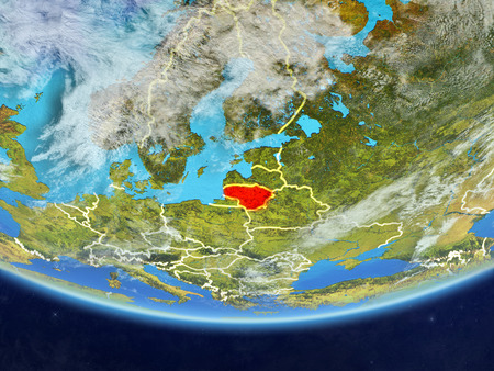 Lithuania on realistic model of planet Earth with country borders and very detailed planet surface and clouds. 3D illustration. Stok Fotoğraf