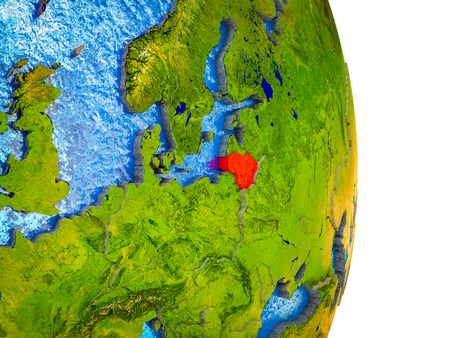 Lithuania on 3D model of Earth with divided countries and blue oceans. 3D illustration.