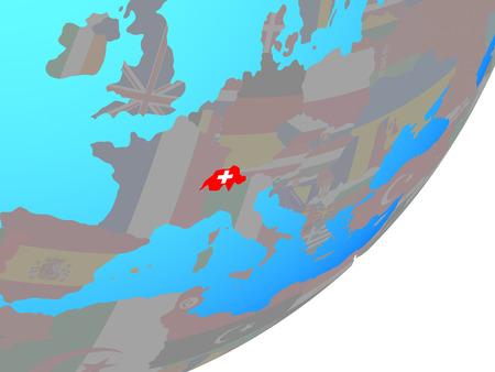 Switzerland with embedded national flag on blue political globe. 3D illustration. Banque d'images - 113061710