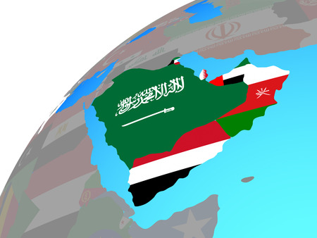 Arabia with embedded national flags on globe. 3D illustration. Фото со стока