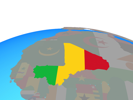 Mali with national flag on political globe. 3D illustration.