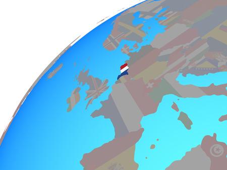 Netherlands with embedded national flag on globe. 3D illustration.