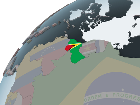 Guyana on political globe with embedded flag. 3D illustration. Stock Photo