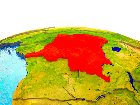 Dem Rep of Congo on 3D Earth with visible countries and blue oceans with waves. 3D illustration.