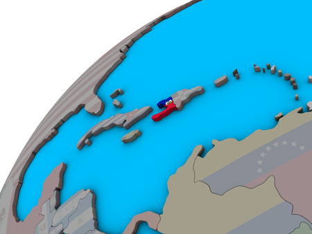 Haiti with national flag on 3D globe. 3D illustration. Stock Photo