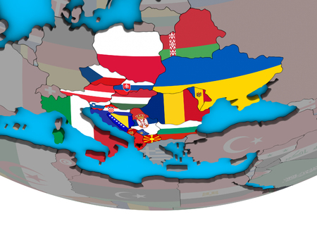 CEI countries with embedded national flags on simple political 3D globe. 3D illustration.