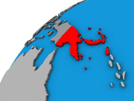Papua New Guinea on 3D globe. 3D illustration. Stock Photo