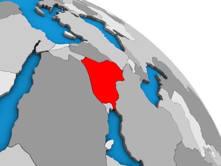 Iraq on simple blue political 3D globe. 3D illustration.