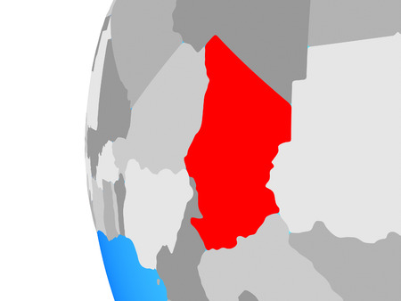 Chad on blue political globe. 3D illustration. Фото со стока
