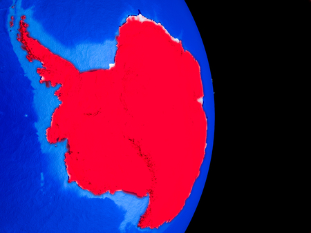 Antarctica on realistic model of planet Earth with country borders and very detailed planet surface. 3D illustration. Stock Photo