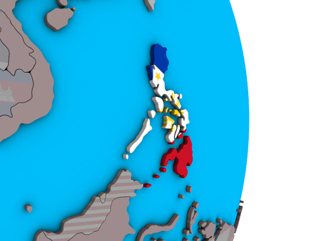 Philippines with embedded national flag on simple political 3D globe. 3D illustration. Фото со стока