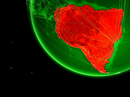 South America on green Earth with network. Concept of connectivity, internet or telecommunications. May also represent air traffic. 3D illustration.