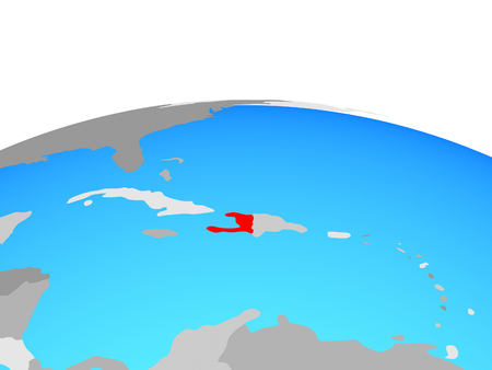 Haiti on political globe. 3D illustration.