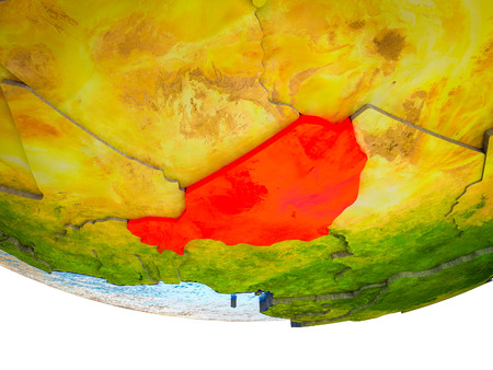 Niger on 3D Earth with divided countries and watery oceans. 3D illustration. Stock Photo